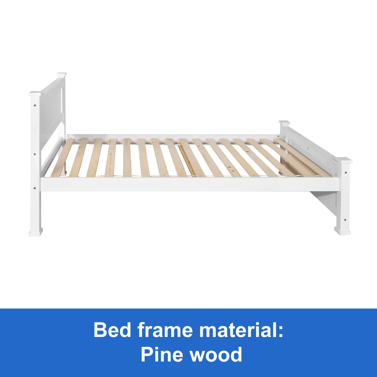 New Wooden King Single Bed Frame White Timber Slats Pine Wood