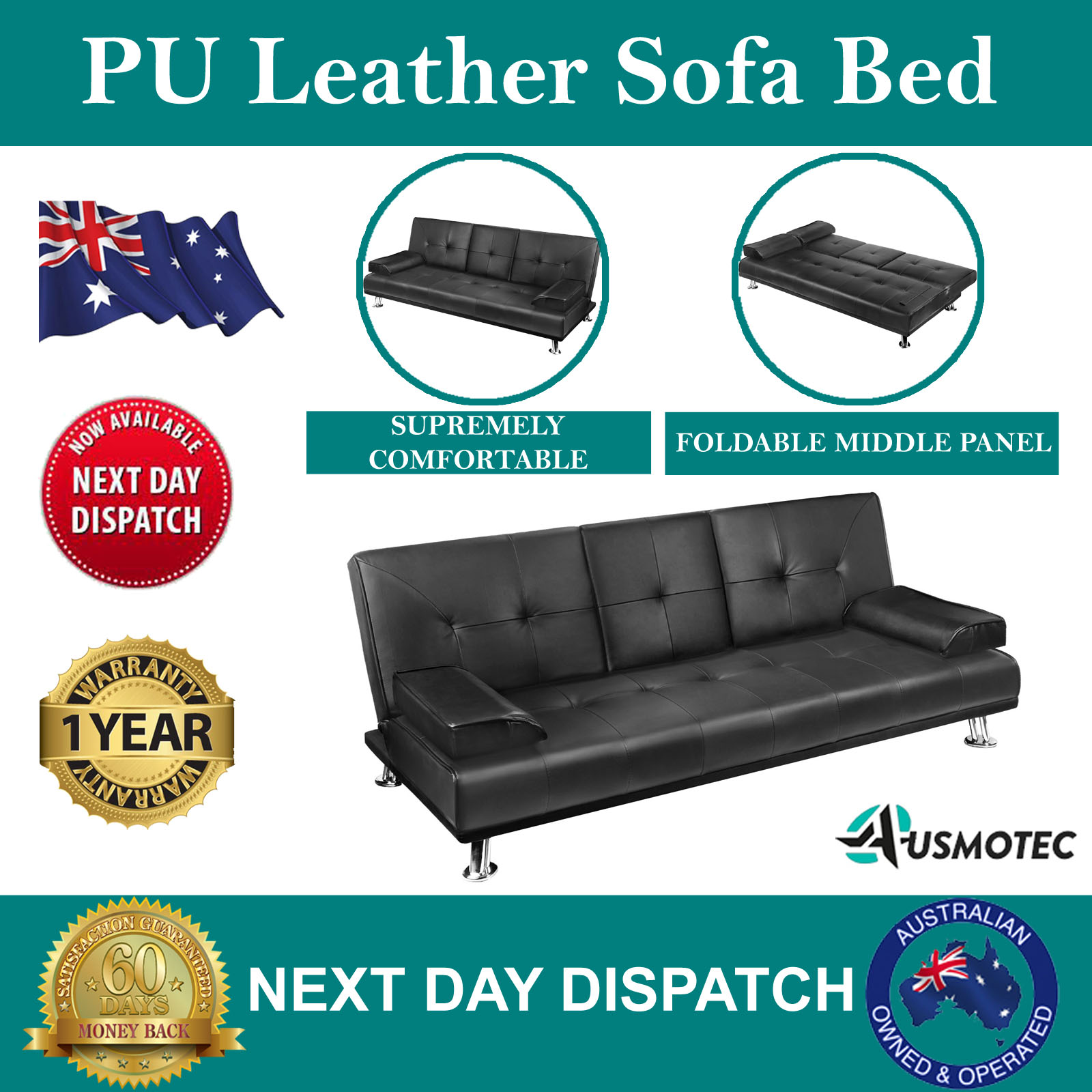 Modern Pu Leather Sofa Bed Mattress Lounge Couch